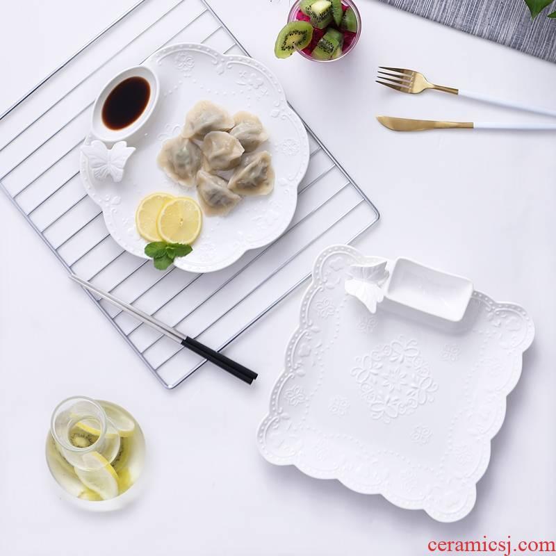 Qiao mu WLS household dumpling dribbling vinegar disc ceramic dumpling dish creative cooking dishes plate of Japanese small breakfast