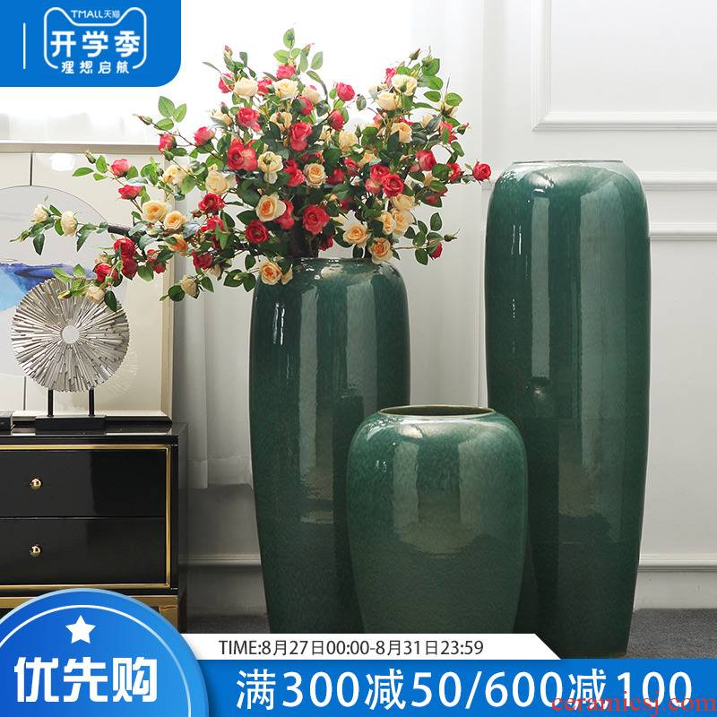European - style villa hotel flower arranging wine example room sitting room of large vase simulation flower decoration ceramics furnishing articles