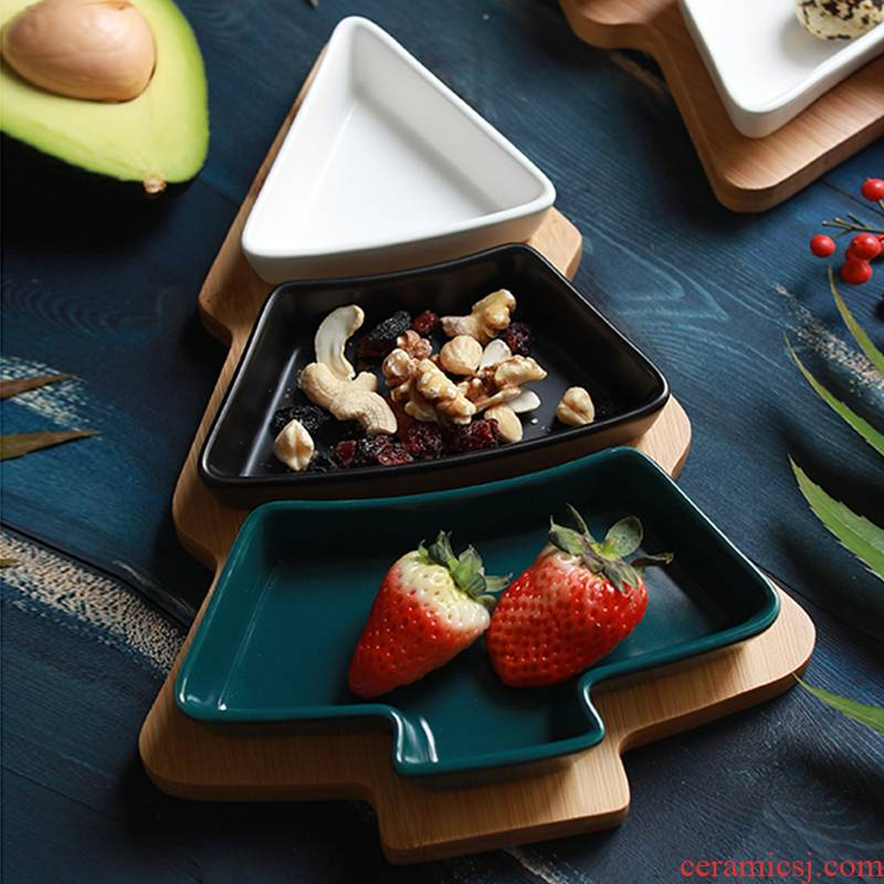 The Nordic idea bamboo tree fruit tray household trays ceramic snack plate of fruit salad plate snack plate