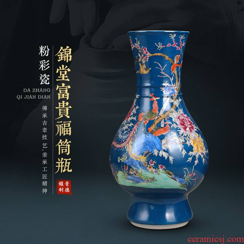 Jingdezhen high restoring ancient ways okho spring vase furnishing articles large living room TV cabinet rich ancient frame flower arranging ceramic decoration