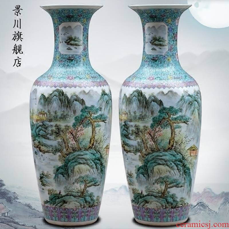 Hand - made pastel landscapes of large ceramic vases, jingdezhen home sitting room of Chinese style furnishing articles study adornment