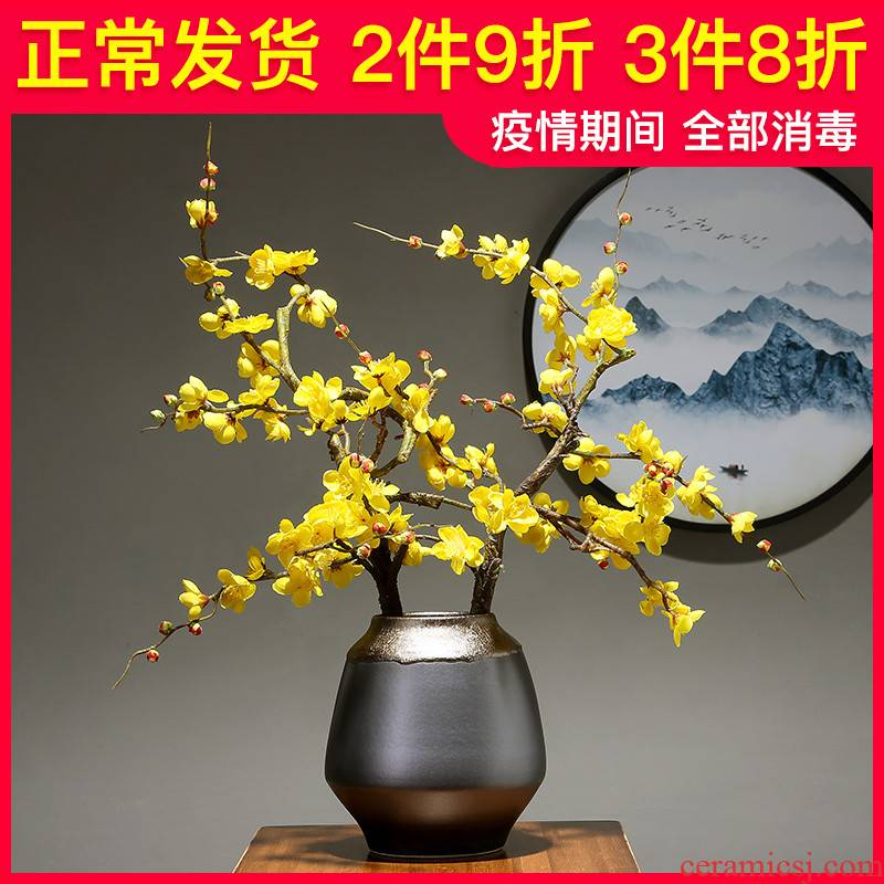 Light European - style key-2 luxury ceramic vases, flower art handicraft furnishing articles study the dried flower arranging, creative sitting room porch decoration