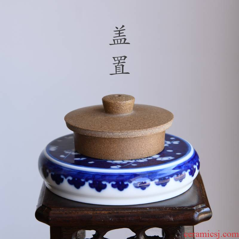 24 is jingdezhen ceramic cover rear hand - made kung fu tea set of blue and white porcelain accessories tea tea taking with zero