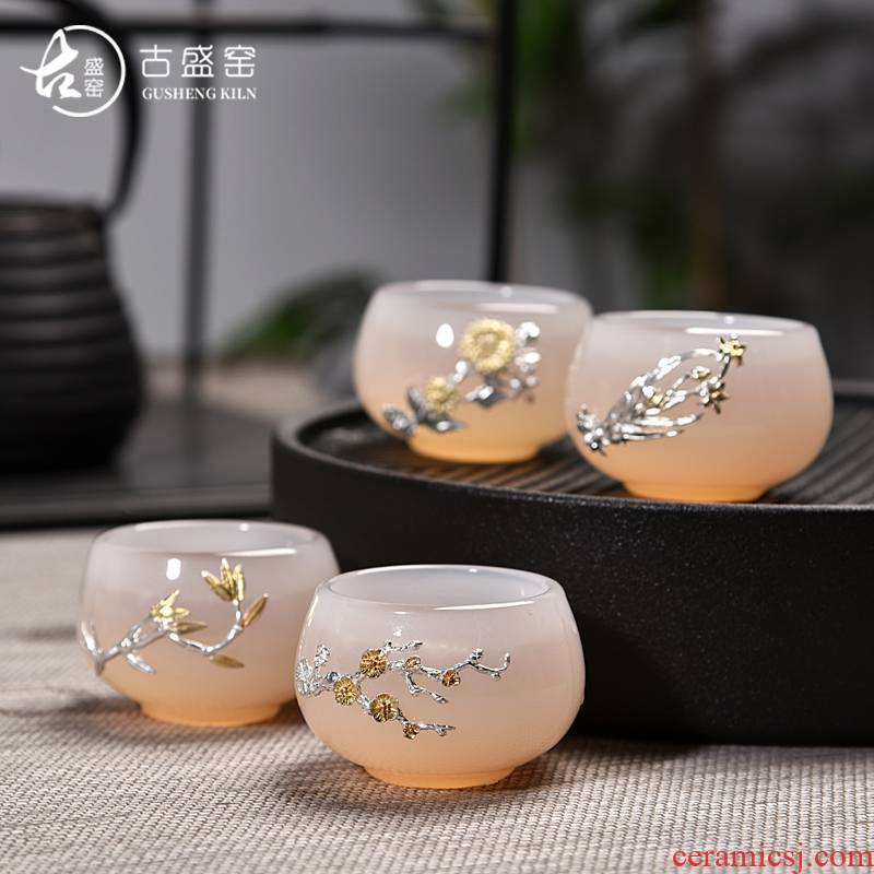 Ancient tea sheng up porcelain jade jade ore, white porcelain of the jade inlaid with silver meilan CPU master cup sample tea cup single cup gift