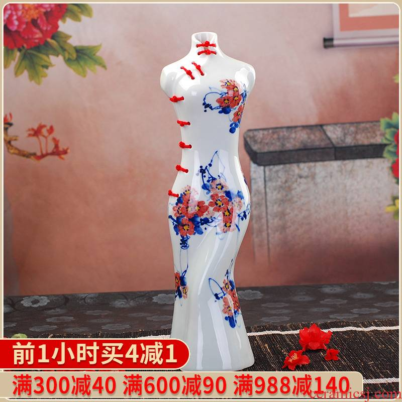 023 in jingdezhen ceramic handicraft furnishing articles blue creative Chinese dress sitting room is contracted household adornment