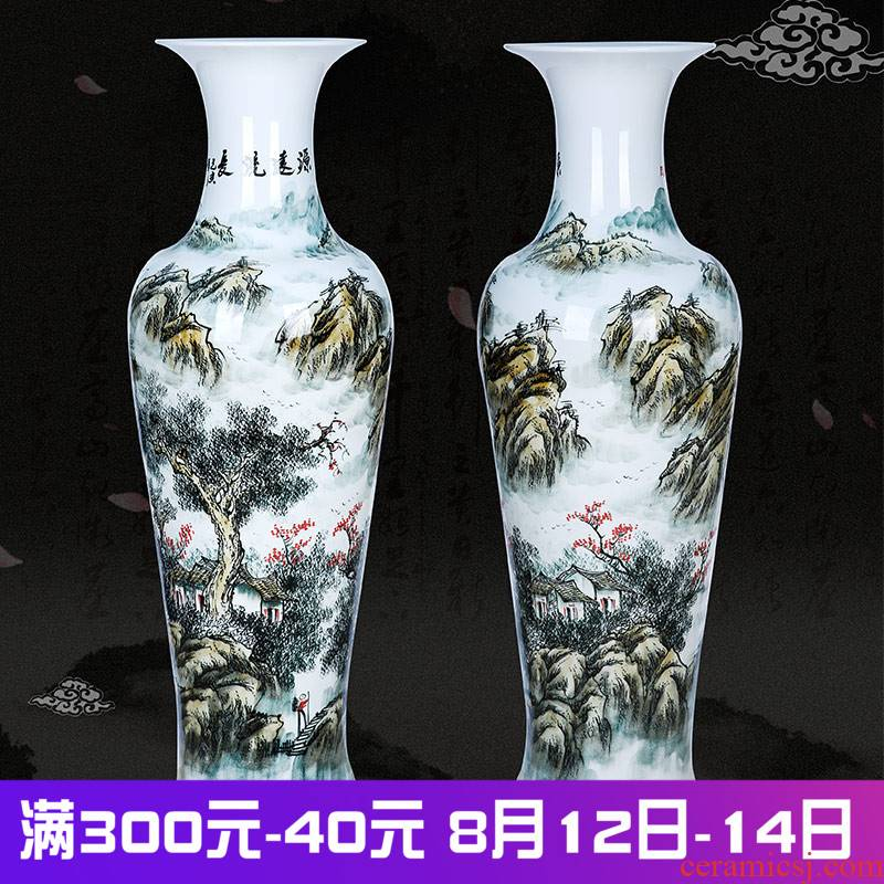 Has a long history in the jingdezhen ceramics landing large vases, hand - made landscape home sitting room place opening gifts