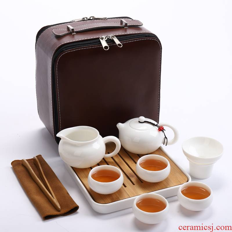 White porcelain tea sets travel a pot of four cups of portable is suing tourism receive bag contracted household kung fu tea pot