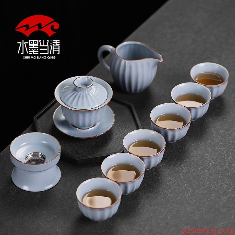Your up tea set to open the slice of ice to crack glaze porcelain household kung fu tea tureen Chinese style restoring ancient ways is the office