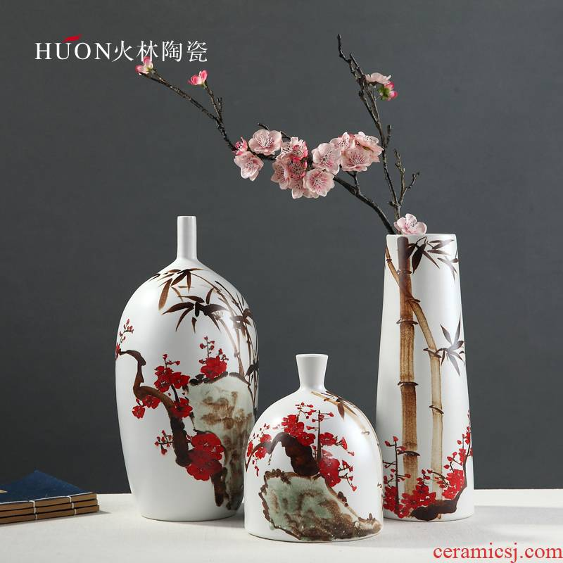Jingdezhen ceramics vase painting hong mei bamboo what modern contracted decorate the sitting room of Chinese style household furnishing articles