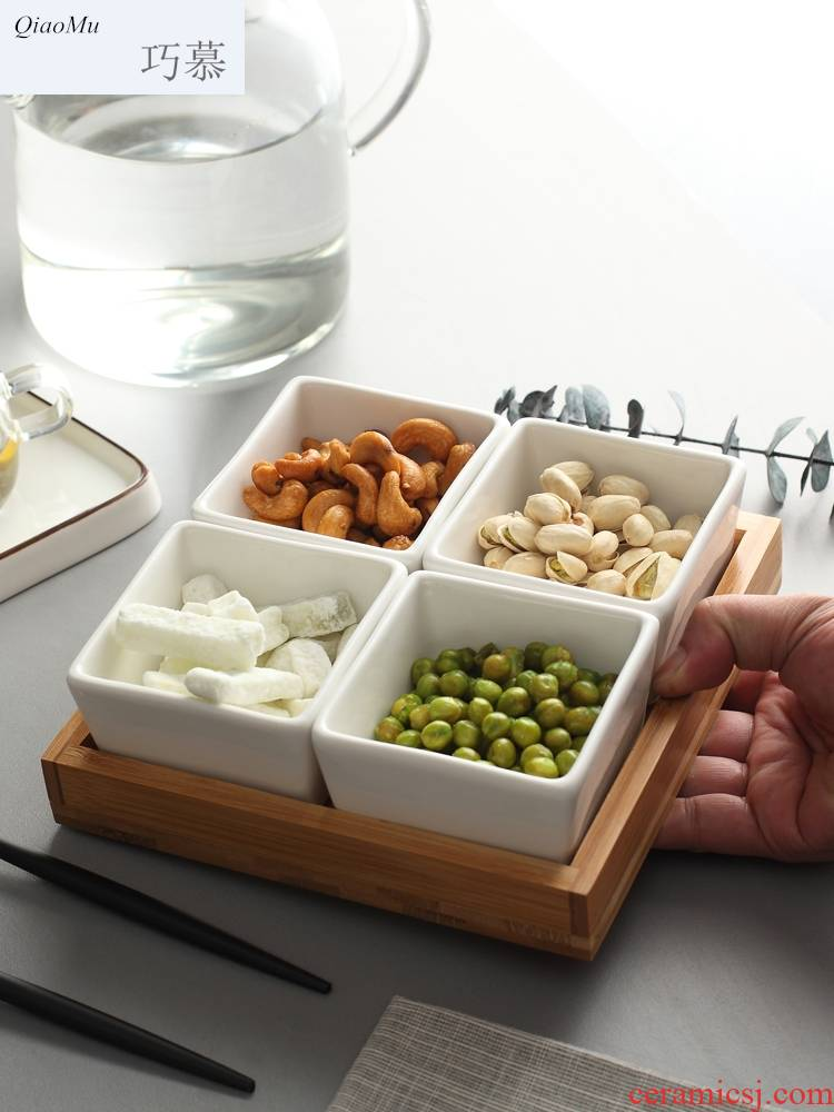 Nordic Qiao mu DHT ceramic creative seeds plate dry fruit tray, fruit dish bamboo ceramic bowl of sugar in the living room