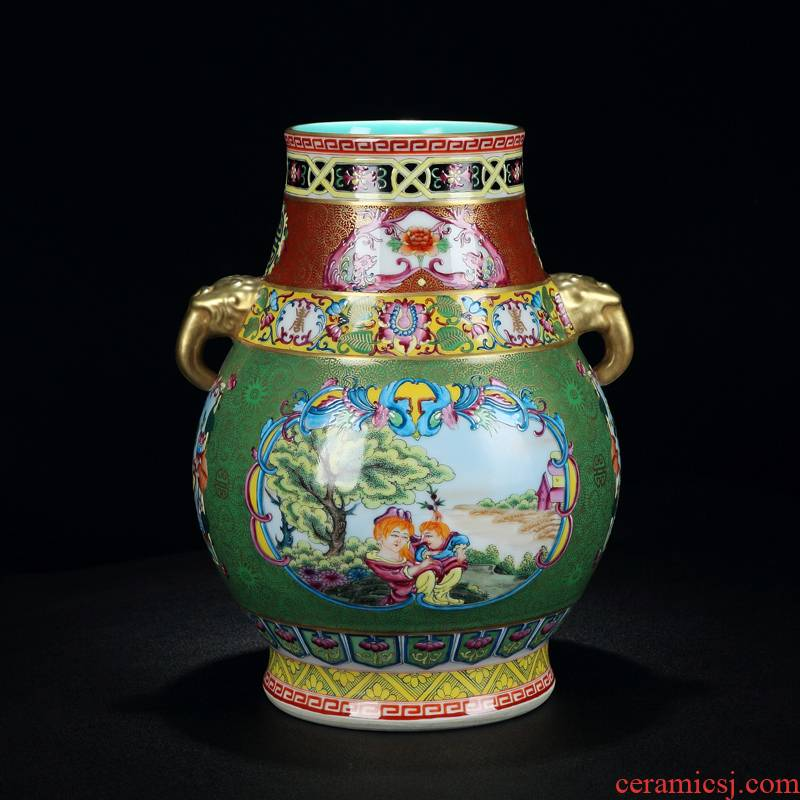 Jingdezhen collection level of archaize colored enamel see elephant statute of Jingdezhen the qing qianlong vase rich ancient frame furnishing articles