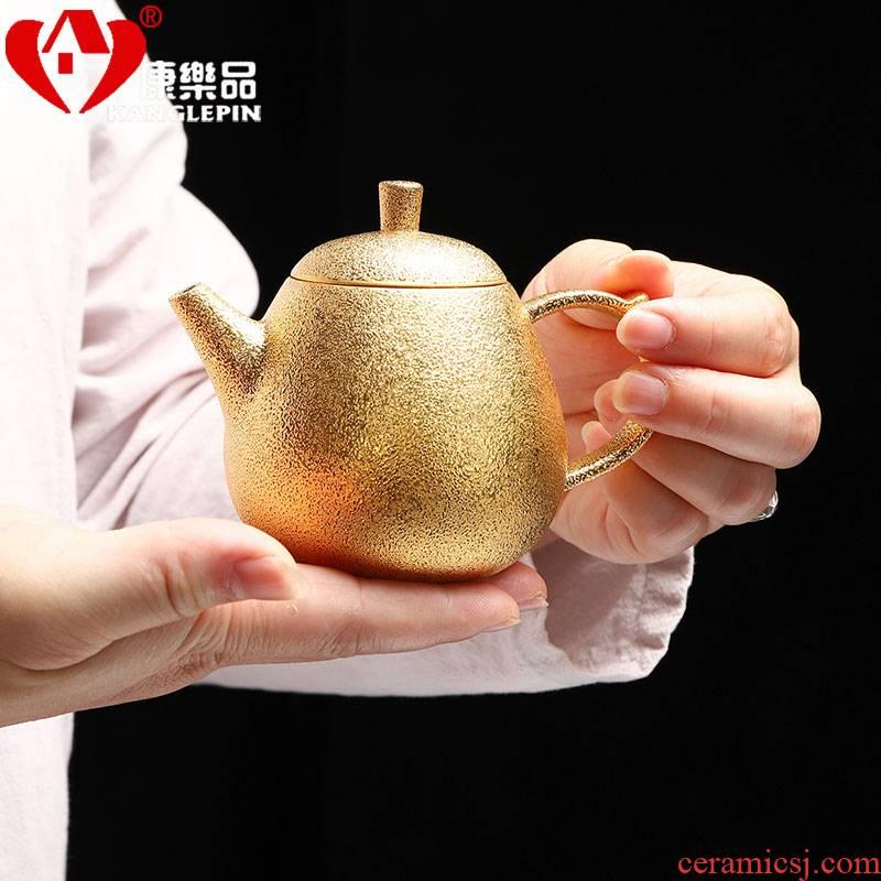 Recreational product gold grind arenaceous kettle pure manual it 24 k gold filtering little teapot tea, kungfu tea set