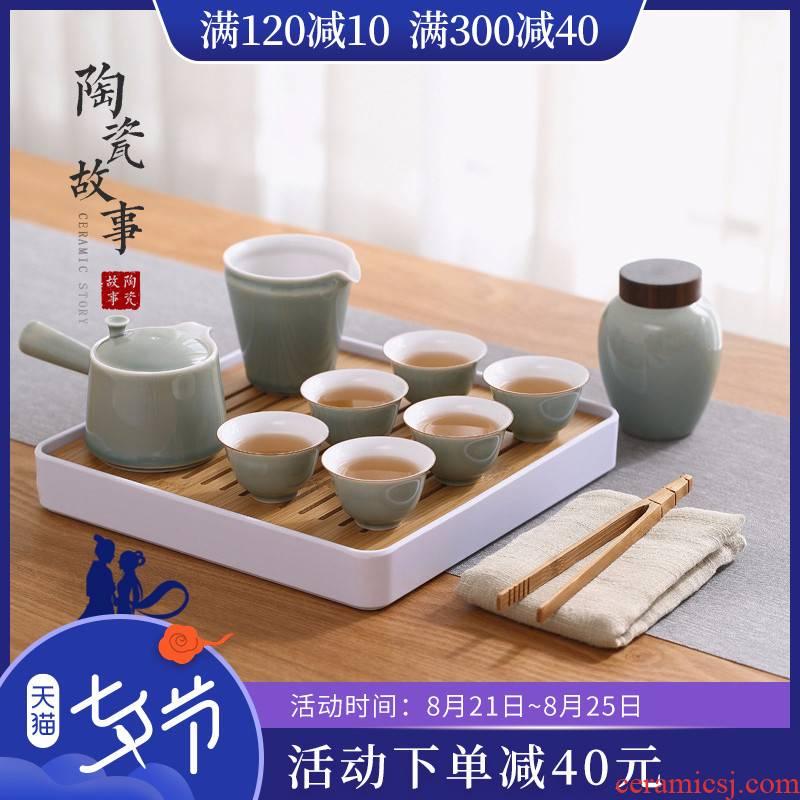 Kung fu tea set ceramic story home sitting room tea Japanese tea set a small set of simple dry tea cups dish