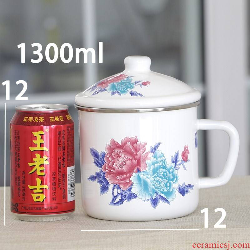 Retro nostalgia of the big Chinese rose, big capacity of drinking a cup of the health and safety to thicken the enamel ChaGangZi 1300 ml