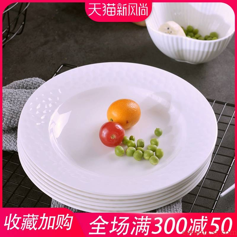 Jingdezhen pure white four pack 】 【 8 inches 0 suit the soup plate household ceramics contracted creative deep dish