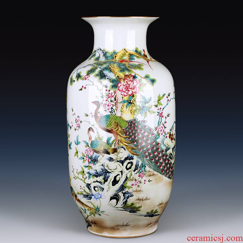 Jingdezhen ceramic vase furnishing articles large sitting room of Chinese style household flower arranging TV ark, rich ancient frame decorative porcelain