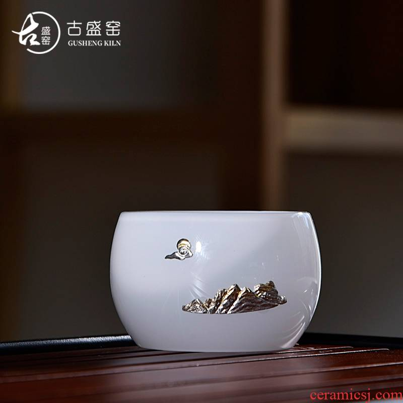 Ancient sheng up new stone, jade porcelain sample tea cup, master cup with whitebait kung fu tea tea glass colored glaze single CPU