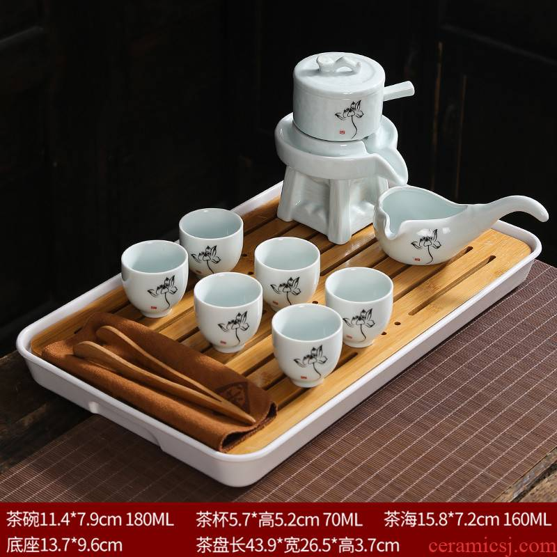 Celadon lazy tea set suit household contracted and I tea retro creative violet arenaceous kung fu tea kettle automatically