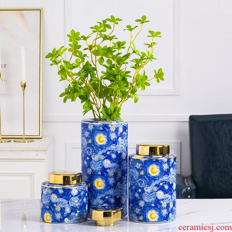 European ceramic vases, dried flower adornment furnishing articles sitting room creative the abstract painting with cover light key-2 luxury water raise flowers flower arrangement