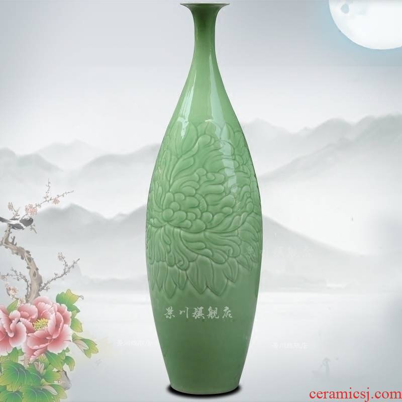 Jingdezhen ceramic green glaze shadow green its blooming flowers peony vases flower arranging study office furnishing articles sitting room