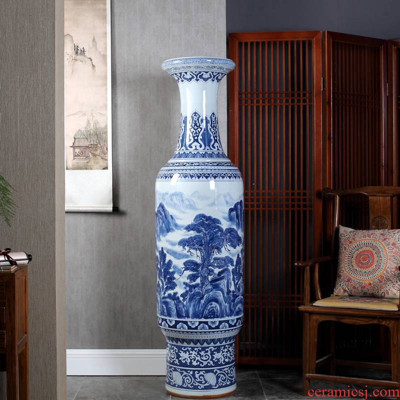 Jingdezhen ceramics hand of large blue and white vase sitting room hall hotel opening gifts furnishing articles company