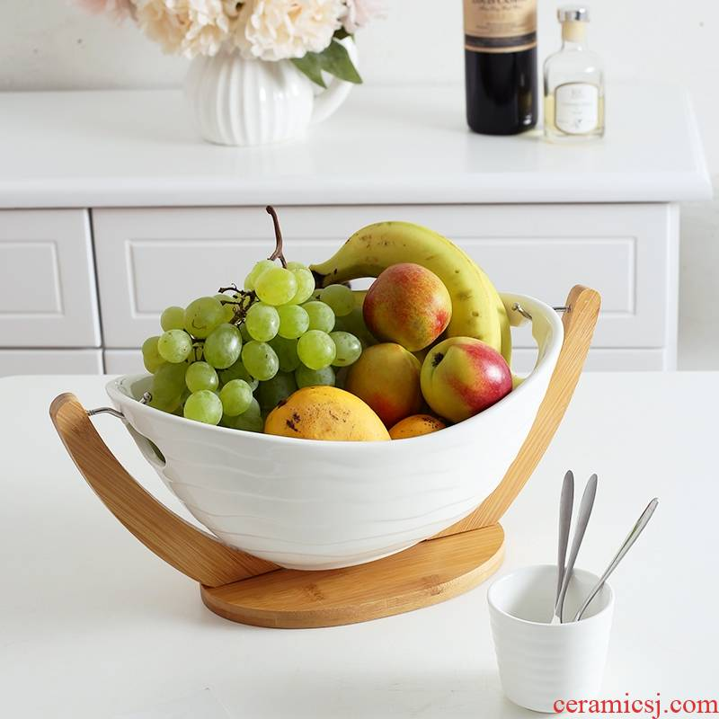 Qiao mu ZCJ I and contracted creative ceramic fruit bowl white large bowl sitting room household dry fruit basket fruit tray
