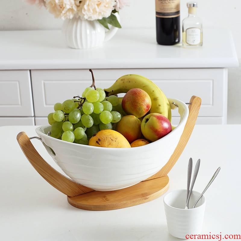 Qiao mu ZCJ I and contracted creative ceramic fruit bowl white large bowl sitting room household dry fruit basket fruit tray