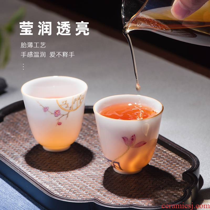 Jingdezhen kung fu tea set checking ceramic colored enamel household sample tea cup single small teacups hand - made the master CPU