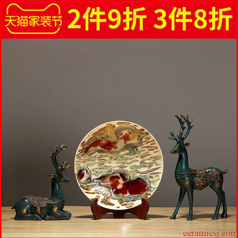 Jingdezhen chinaware plate furnishing articles sitting room porch hang dish TV ark of adornment of Chinese style household contracted crafts