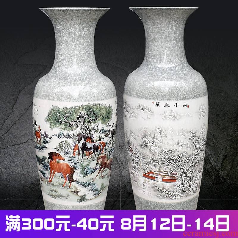 Jingdezhen ceramics archaize crack landing a large vase furnishing articles sitting room of Chinese style household decoration snow eight horses