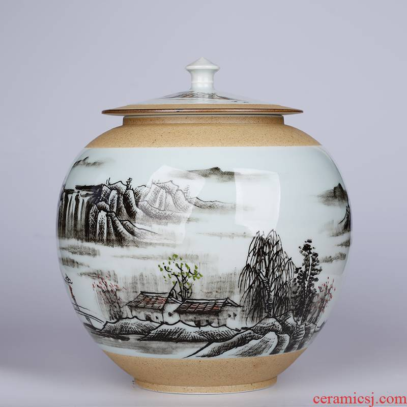 Creative hand - made big yards caddy fixings seal pot sitting room adornment is placed a kilo ceramic tea storage tank moistureproof