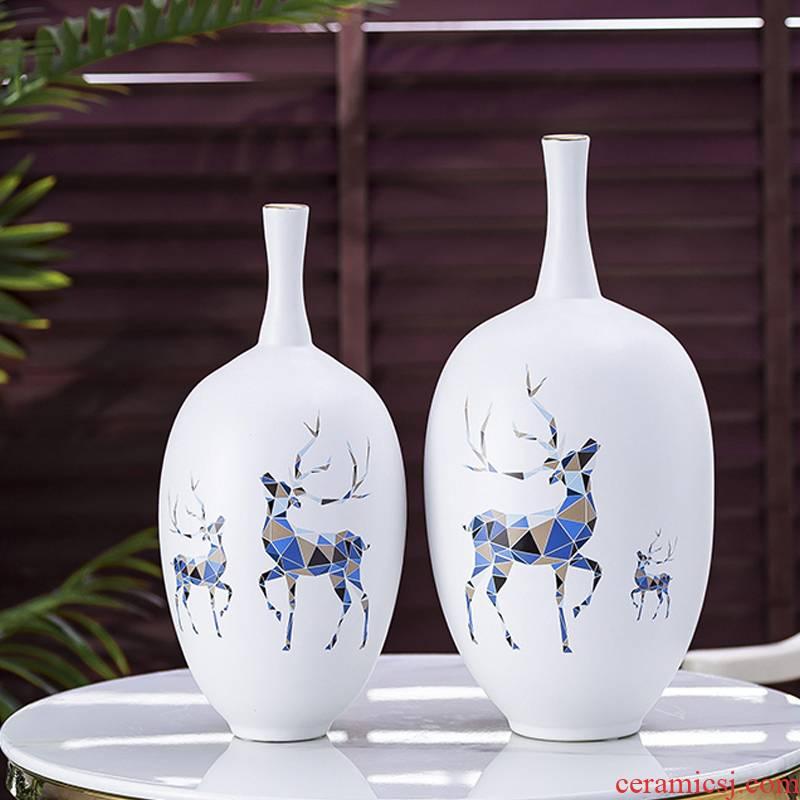 Creative jingdezhen ceramic vase furnishing articles sitting room put vase Nordic light key-2 luxury contracted sitting room ark place adorn article