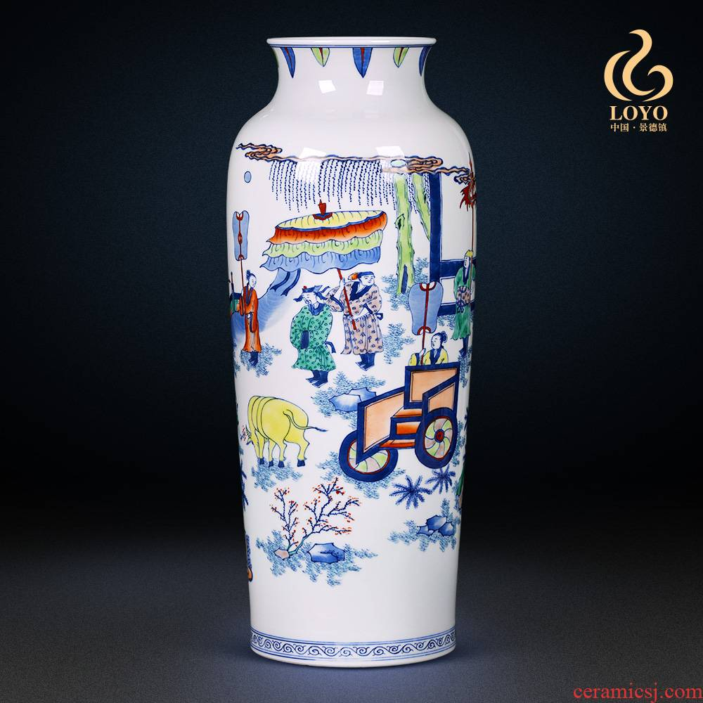 Jingdezhen ceramics vase famous blue and white color bucket hand - made the sitting room porch decoration of Chinese style household furnishing articles gifts