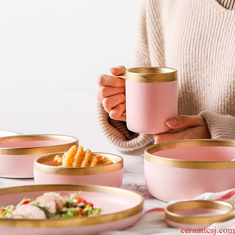 Ins Nordic pink paint and ceramic tableware home plate beefsteak dish dish of rice bowls rainbow such as bowl soup bowl