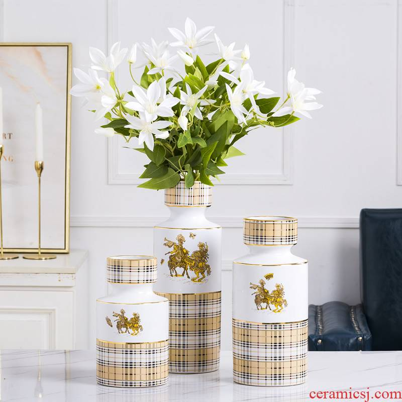 Ceramic vases, dried flower adornment furnishing articles Nordic light creative flower arranging I and contracted sitting room key-2 luxury European - style water raise flowers
