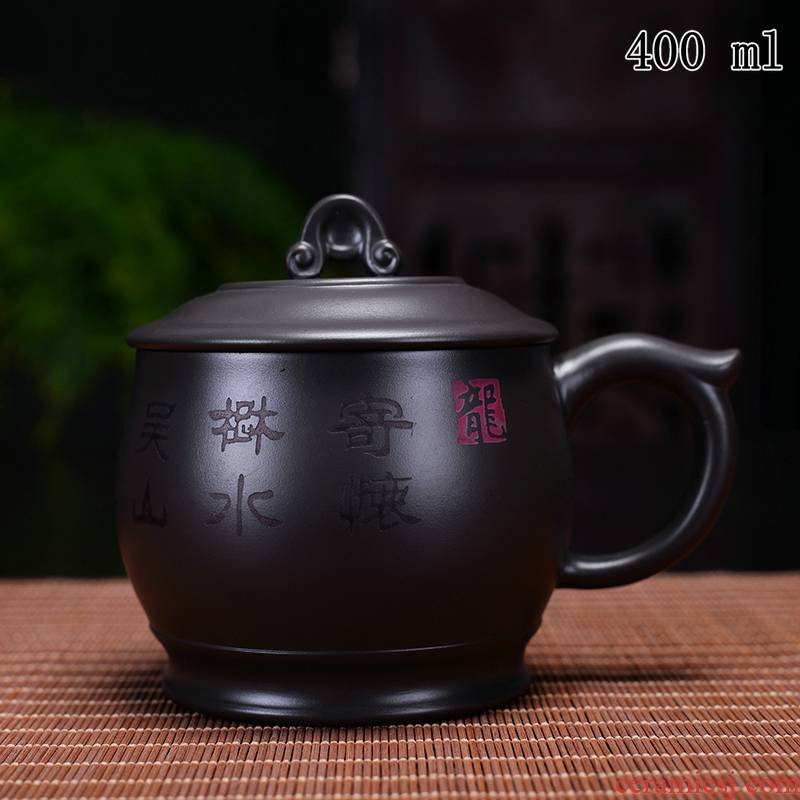 Authentic yixing purple sand cover cup with the big filter tank dragons cup of name plum blossom put office cup tea cups individual cup
