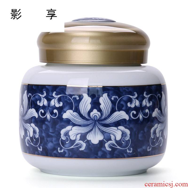 Shadow enjoy household ceramic tea pot with cover POTS of blue and white porcelain tea boxes tea barrel wake receives storage tanks BLT