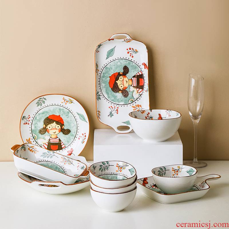 Fairy by Tate forest under the glaze color Japanese creative lovely dishes tableware household rice bowls ceramic disk bowl of food dish