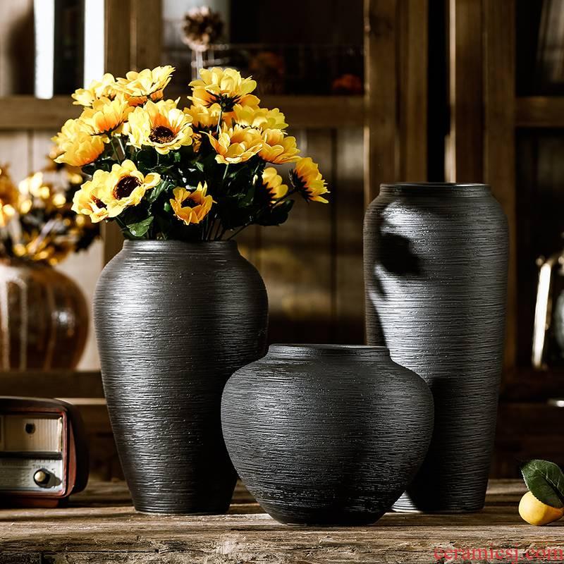 Jingdezhen official flagship store dried flower vase ceramics decoration furnishing articles sitting room flower arranging flower pot retro black porcelain