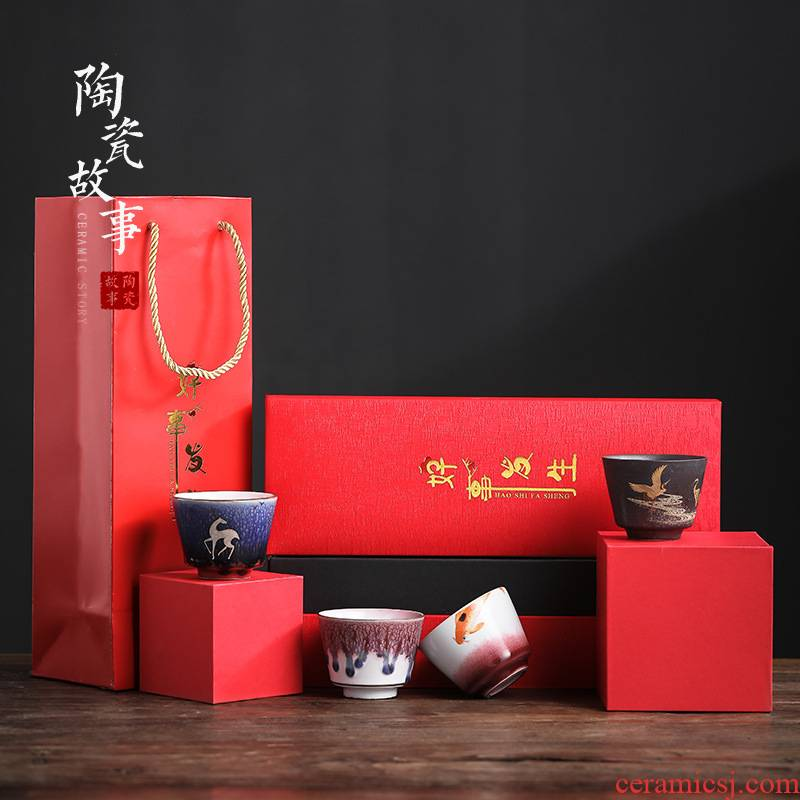 Story of pottery and porcelain teacup tea sample tea cup, kung fu tea bowl hand - made single cup gift boxes manual master CPU