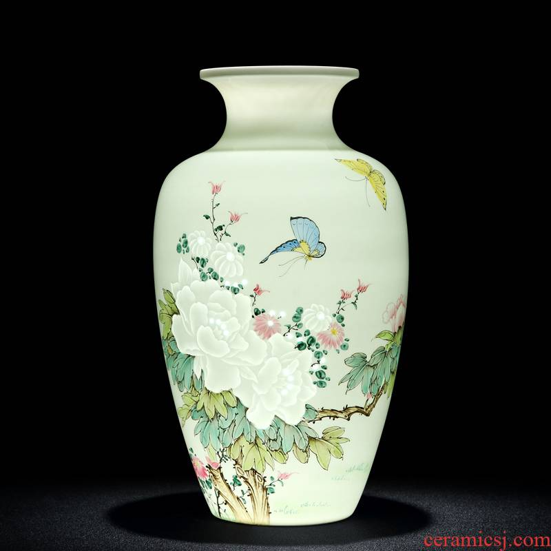 Half an hour and exquisite porcelain of jingdezhen ceramic vase hand - made of new color flower vase sitting room of Chinese style table vase