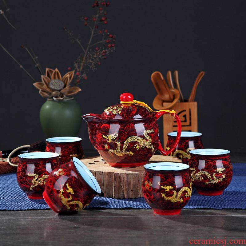 Ceramic tea set home sitting room kung fu tea set Chinese double cup teapot a complete set of jingdezhen tea service
