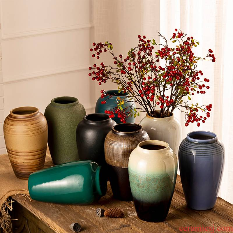 Vase furnishing articles clay ceramic dried flowers sitting room adornment flowers water table to restore ancient ways of jingdezhen porcelain Vase