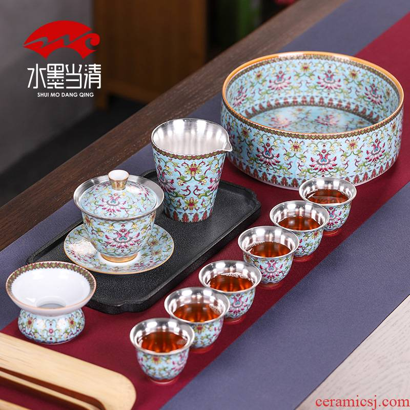 Coppering. As silver colored enamel kung fu tea set household jingdezhen ceramic tureen tea cups high - end gift box office