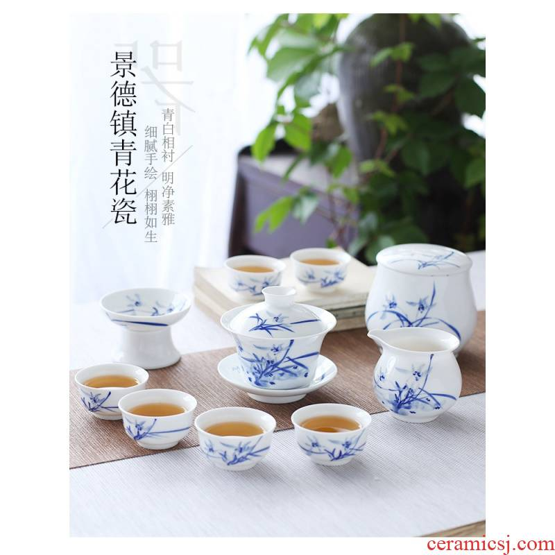 The Poly real view jingdezhen hand - made tureen kung fu tea set of blue and white porcelain suit small set of household ceramic teapot teacup
