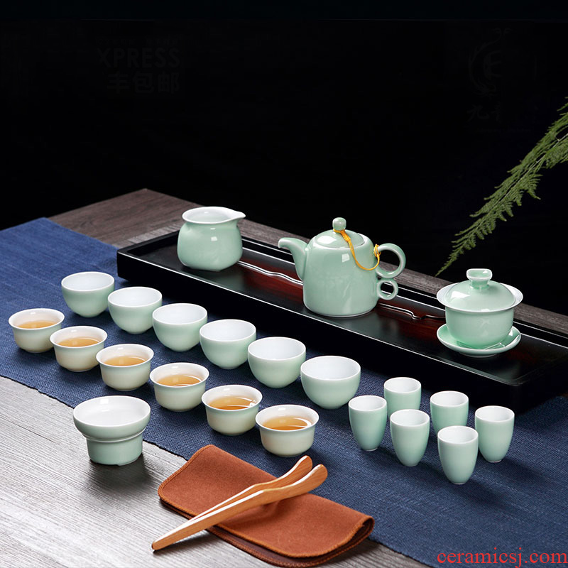 Jingdezhen tea sets kung fu tea cups sniff ceramic cups tureen household teapot small cups