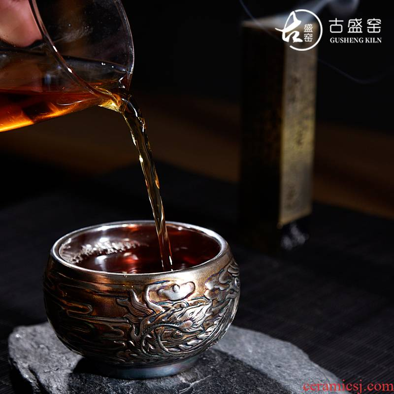 The ancient new Japanese antique silver, pure manual fire phoenix kung fu sheng up household ceramics bladder tasted silver gilding masters cup