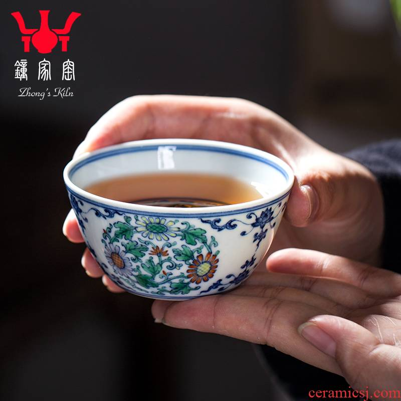Clock home trade, one cup of jingdezhen blue and white color bucket maintain all hand group by grain kung fu tea cups of female