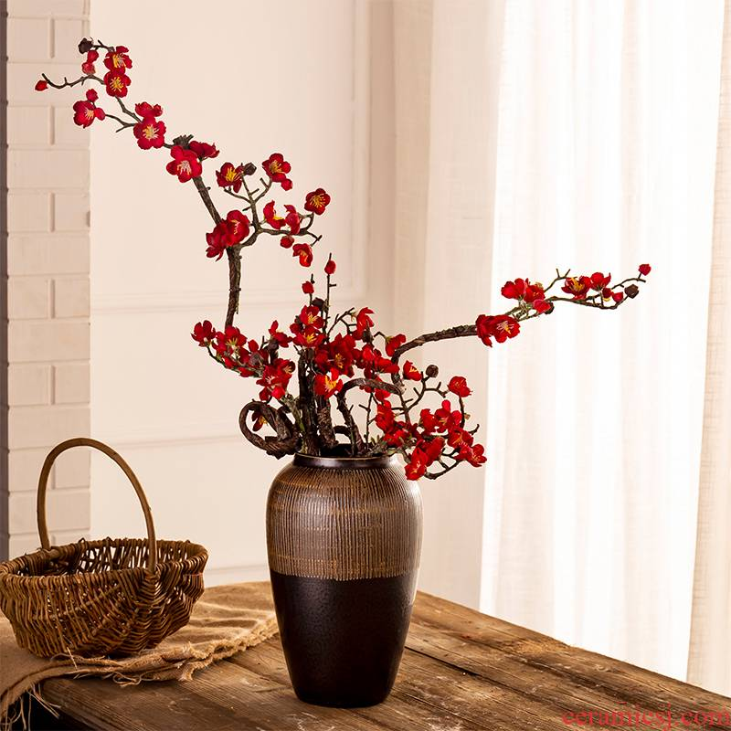 American ceramic vase restoring ancient ways furnishing articles simulation flower arranging creative contracted household living room TV cabinet craft porcelain