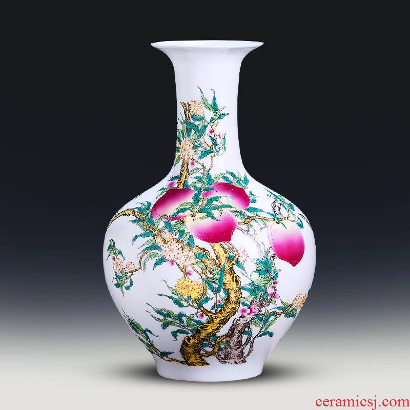 Jingdezhen ceramics thin foetus nine peach figure vase furnishing articles of new Chinese style household living room TV cabinet flower decorations